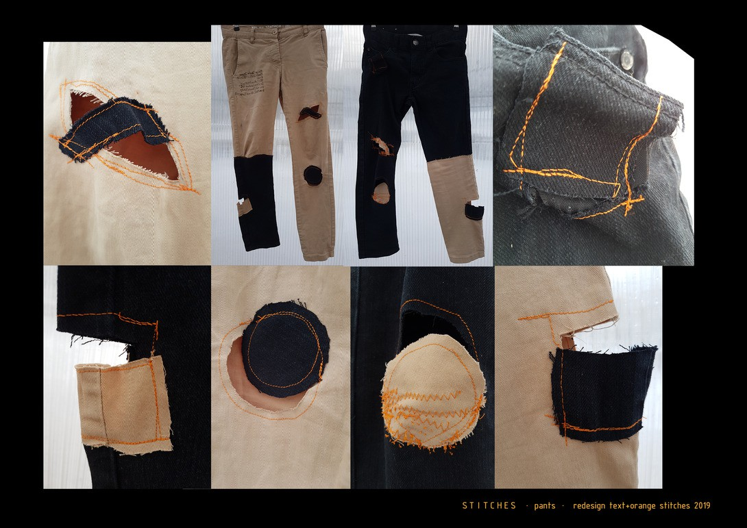 STITCHES · pants · redesign text+orange stitches 2019