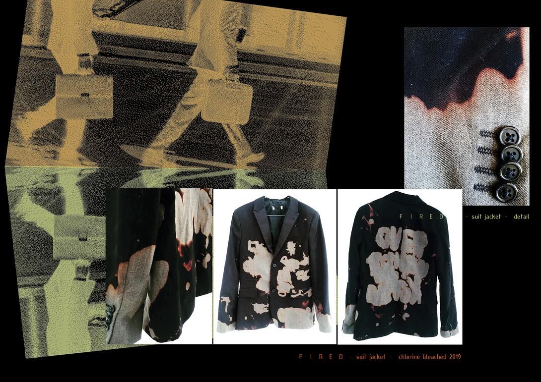 F I R E D · suit jacket · chlorine bleached 2019