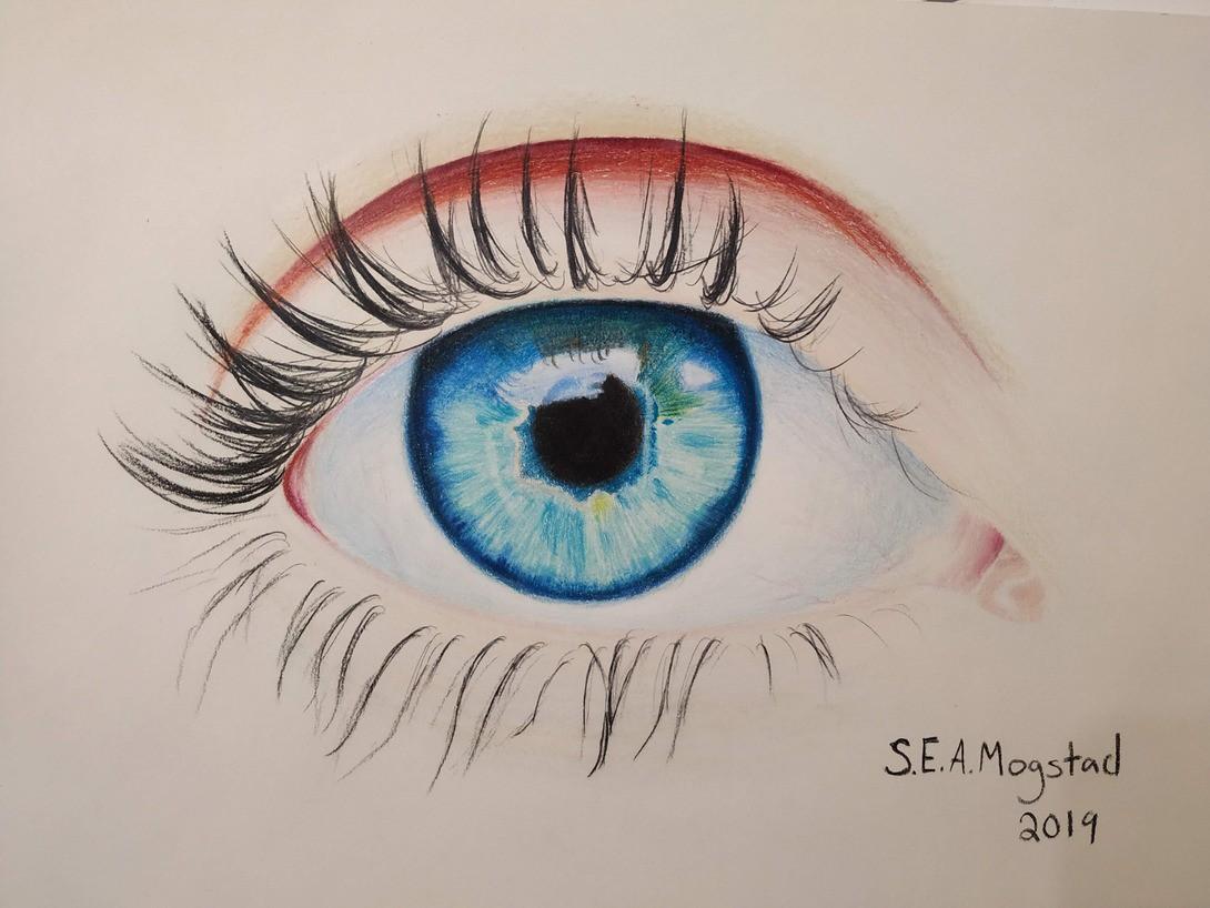 Øye - fargeblyant-tegning